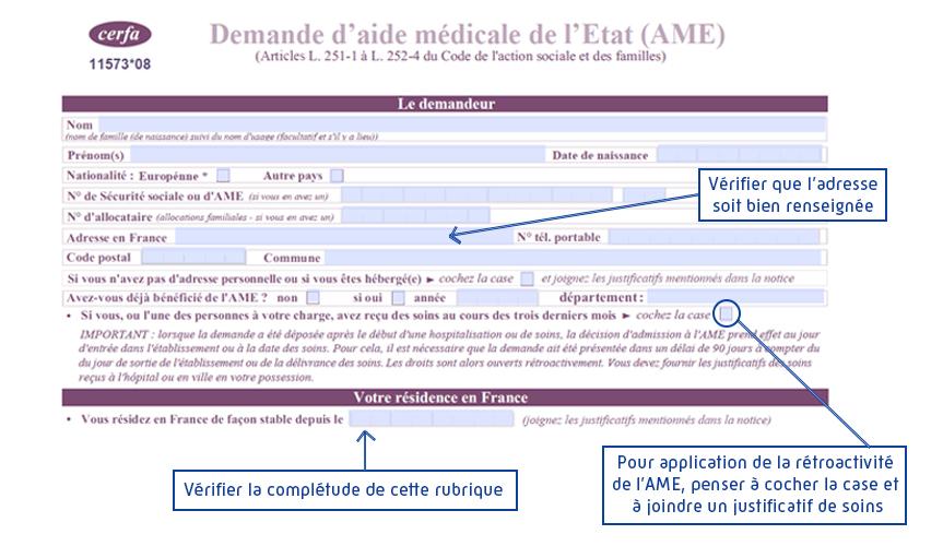 formulaire AME résidence